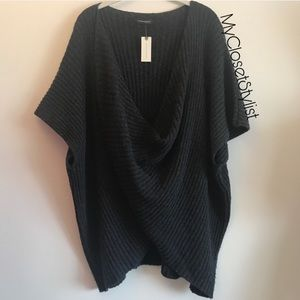 Anthropologie ribbed poncho twist sweater s m NWT
